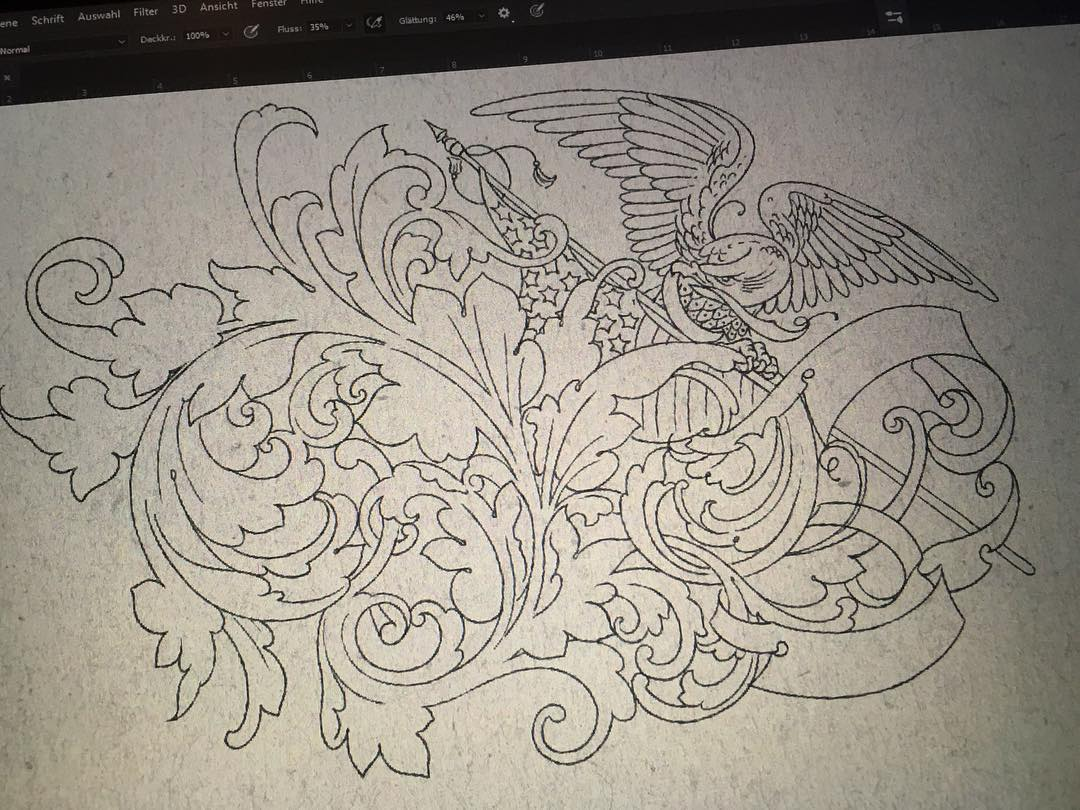 finished line framework and possible stencil for an engraving, thanks for watchi