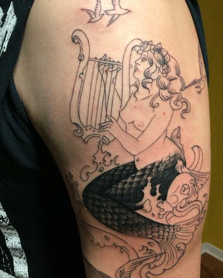 #matthiasblossfeld #tattoogravure #oldstyle #finelinetattoo #nauticaltattoo #sin