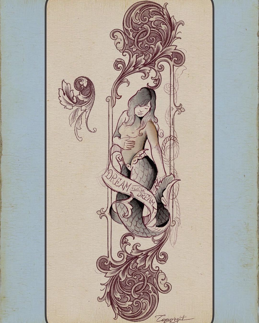 #sideshowtraveling #scrollwork #mermaid #digitalink #traditionaltattooflash #tra