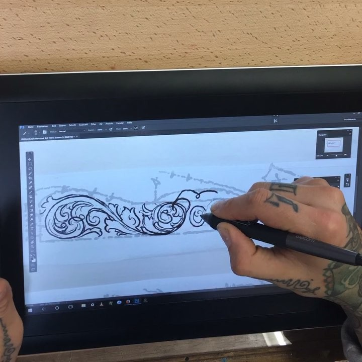 speed drawing of the rough lining of the upcoming engraving for my friend werner