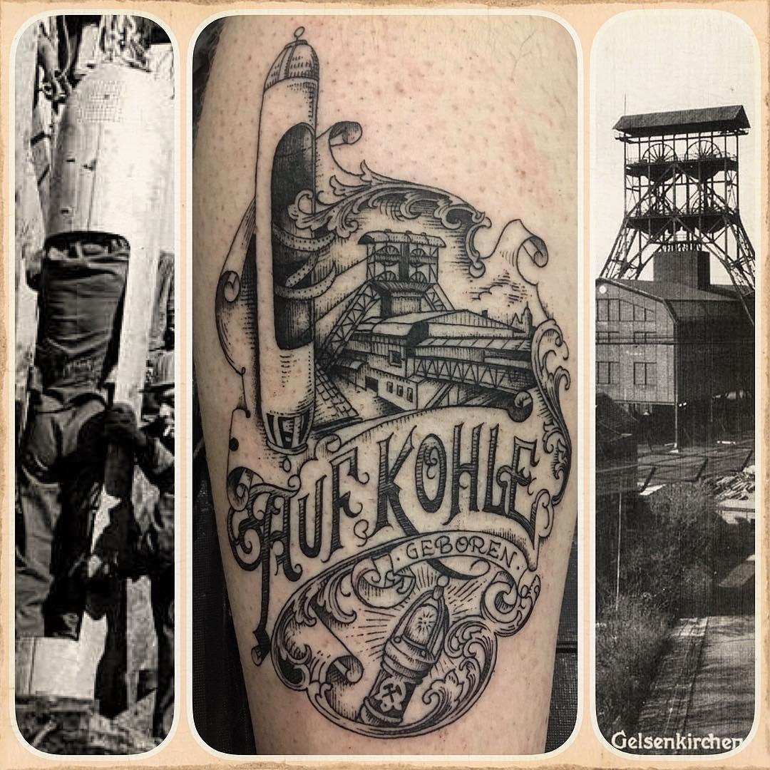 "tattoo of the legendary ""dahlbuschbombe""  damals beim grubenunglück in gelsenkir"