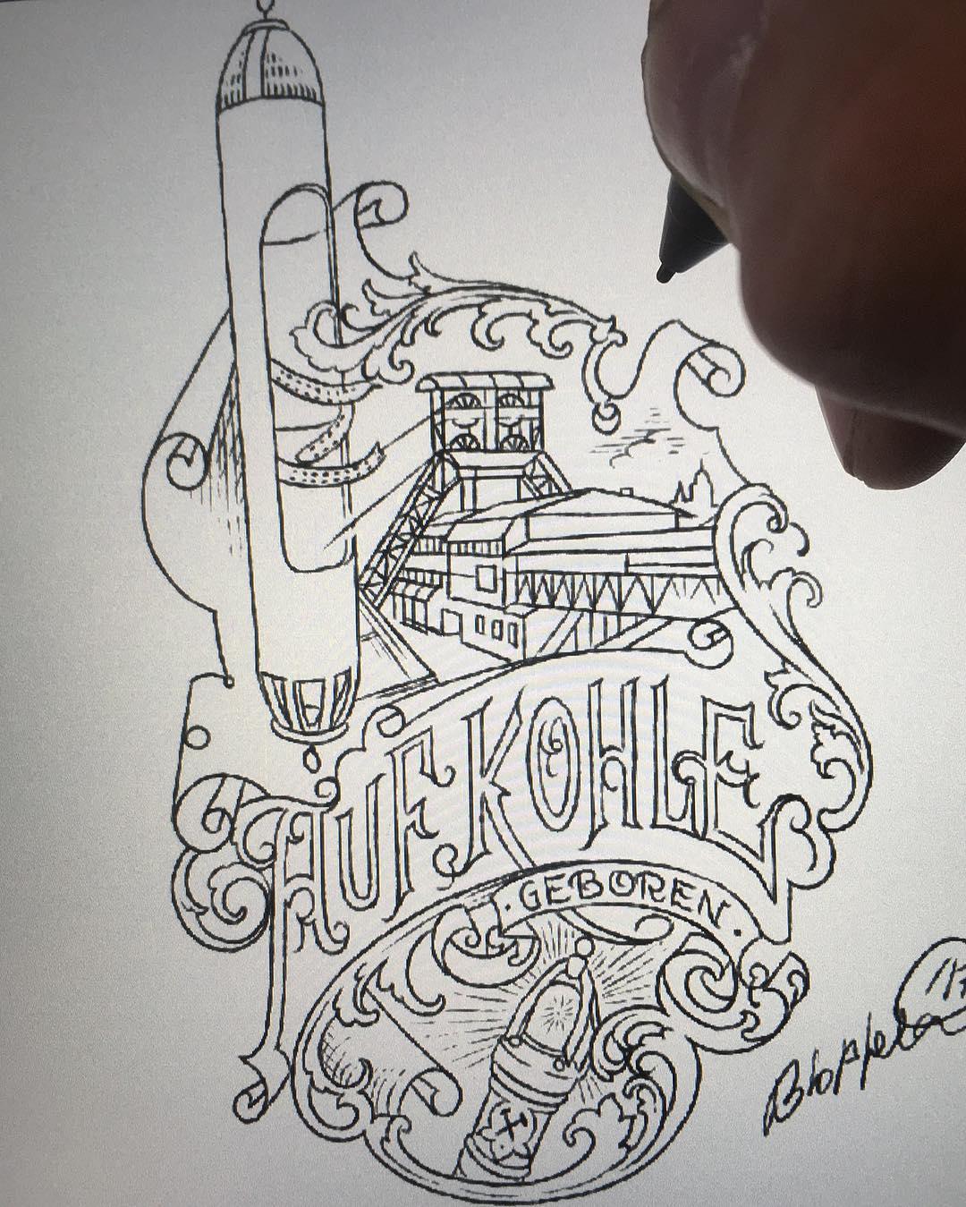 """today work sketch @zeitgeisttattoo """"zechentattoo"""" dahlbusch, später mehr dazu.."""