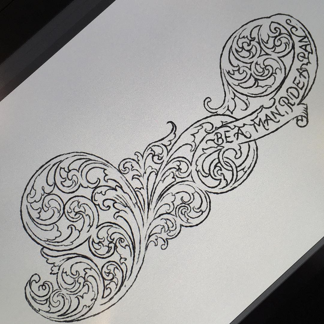 warming up scroll practice  while waiting for customer.. lines done, in progress