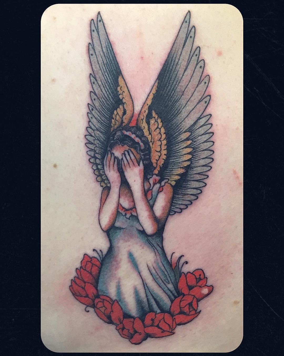 """""""weeping angel"""" done @zeitgeisttattoo .. #matthiasblossfeld #sideshowtraveling #"""