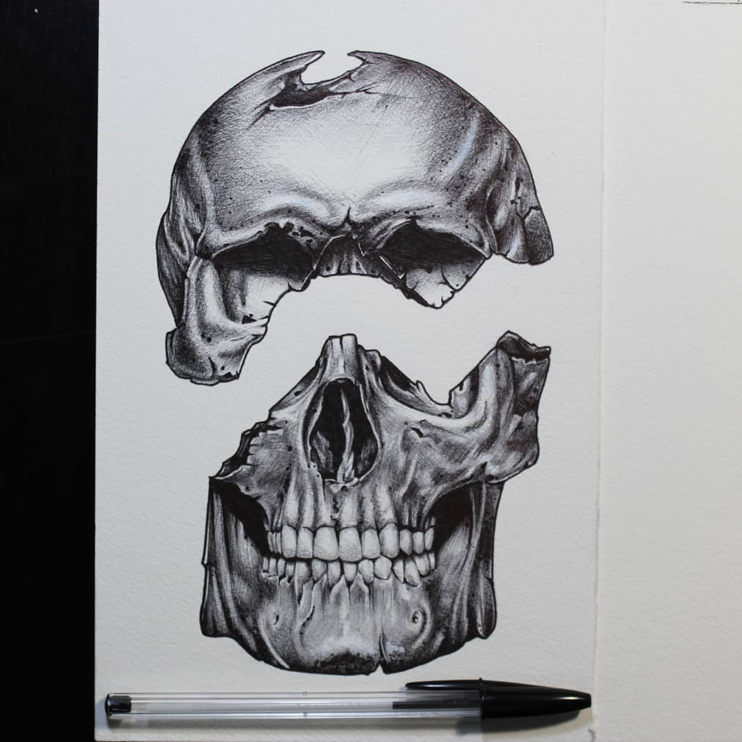 Ballpoint-skull....available as Tattoo. Thx for looking #germantattooers #german