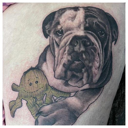 Bulldog Marley von @ronraida gestochen, allerdings noch nicht fertig, aber bald!